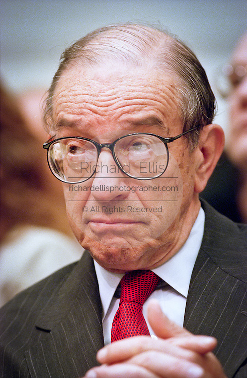 Federal Reserve Chairman Alan Greenspan during testimony in the House Banking Committee May 20, 1999 in Washington, DC.
