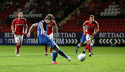 Jason Cummings of Peterborough United scores the winning goal from the penalty spot - Mandatory by-line: Joe Dent/JMP - 21/08/2018 - FOOTBALL - The Valley - Charlton, London, England - Charlton Athletic v Peterborough United - Sky Bet League One
