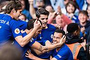 Chelsea (11) Pedro, Chelsea (9) Álvaro Morata, Chelsea (4) Cesc Fàbregas, Chelsea (3) Marcos Alonso, celebrate goal during the Premier League match between Chelsea and Watford at Stamford Bridge, London, England on 21 October 2017. Photo by Sebastian Frej.