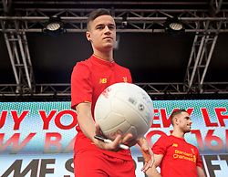 LIVERPOOL, ENGLAND - Monday, May 9, 2016: Liverpool's Philippe Coutinho Correia at the launch of the New Balance 2016/17 Liverpool FC kit at a live event in front of supporters at the Royal Liver Building on Liverpool's historic World Heritage waterfront. (Pic by Lexie Lin/Propaganda)