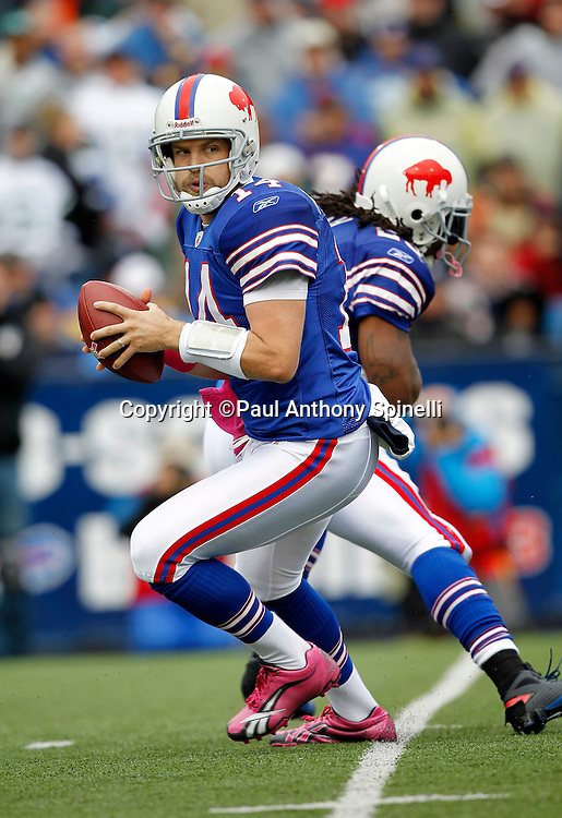Buffalo Bills quarterback Ryan Fitzpatrick (14) rolls out while looking to pass during a NFL week 4 football game against the New York Jets on Sunday, October 3, 2010 in Orchard Park, New York. The Jets won the game 38-14. (©Paul Anthony Spinelli)