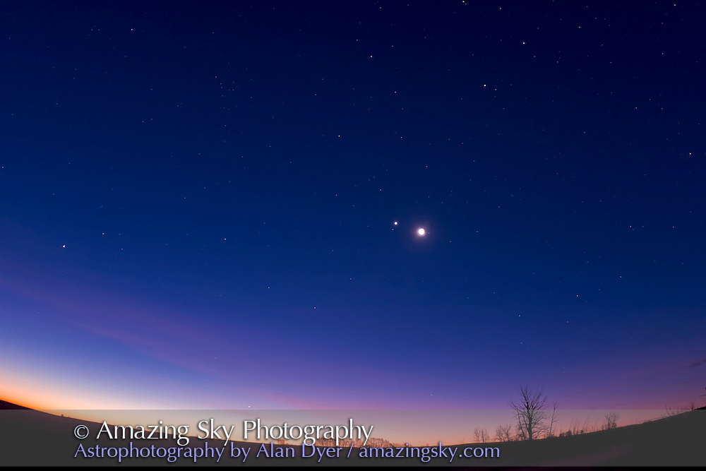 Mercury at lower left with Venus and Moon conjunction in centre and Saturn then Regulus at upper right, taken morning of Nov 5, 2007, With Canon 20Da, 15mm lens at f/2.8 and ISO 200 for 13 seconds. Shows steep tilt of ecliptic in pre-dawn sky in autumn.