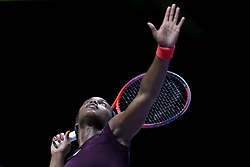October 28, 2018 - Singapore - Sloane Stephens of the United States serves during the Singles Championship match between Sloane Stephens and Elina Svitolina on day 8 of the WTA Finals at the Singapore Indoor Stadium. (Credit Image: © Paul Miller/ZUMA Wire)