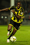 Burton Albion forward Lucas Akins takes the ball to the box during the Sky Bet League 1 match between Burton Albion and Sheffield Utd at the Pirelli Stadium, Burton upon Trent, England on 29 September 2015. Photo by Aaron Lupton.