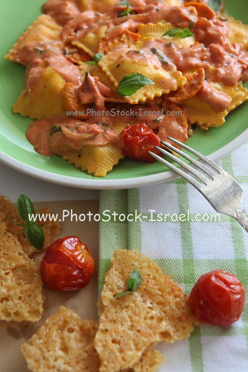 plate of Ravioli with marinara sauce