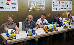 29.07.2014, Klagenfurt, Strandbad, AUT, A1 Beachvolleyball Grand Slam 2014, im Bild Ing. Herbert Taschek, Peter Kleinmann, Bgm. Christian Scheider, Hannes Jagerhofer, LH. Mag. Dr. Peter Kaiser, Susanne Speil // during the A1 Beachvolleyball Grand Slam at the Strandbad Klagenfurt, Austria on 2014/07/29. EXPA Pictures © 2014, EXPA Pictures © 2014, PhotoCredit: EXPA/ Mag. Gert Steinthaler