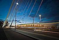 Train passing on the Erasmus Bridge, Rotterdam