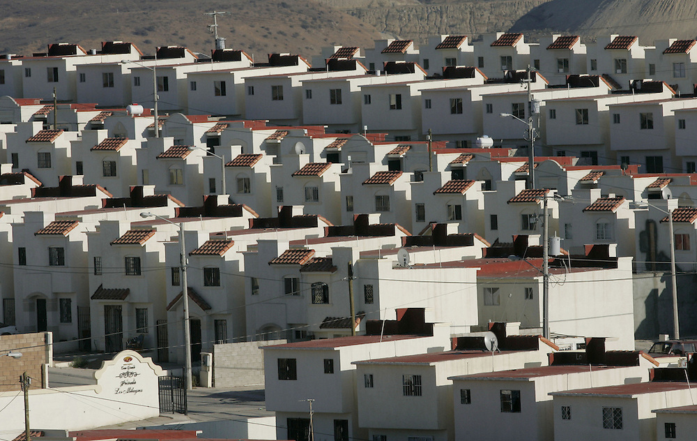 TIJUANA, MEXICO: View of new housing structures on the outskirts of Tijuana in the La Presa area of Tijuana, Mexico.