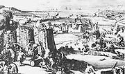 Siege of Londonderry, Ireland. The Protestant population was under siege by forces of James II for 105 days and suffered disease and shortage of supplies until 28 July 1689 English sailors managed to break the book across the river Foyle and bring relief.  From 'Engelants Schouwtoneel .... Jacobus II', Amsterdam, 1690.