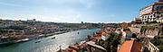 Porto cityscape and Douro river as seen from the top of Dom Luis I Bridge, Porto, Portugal