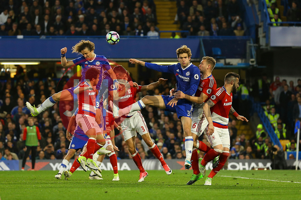 David Luiz of Chelsea heads the ball wide of goal - Mandatory by-line: Jason Brown/JMP - 08/05/17 - FOOTBALL - Stamford Bridge - London, England - Chelsea v Middlesbrough - Premier League
