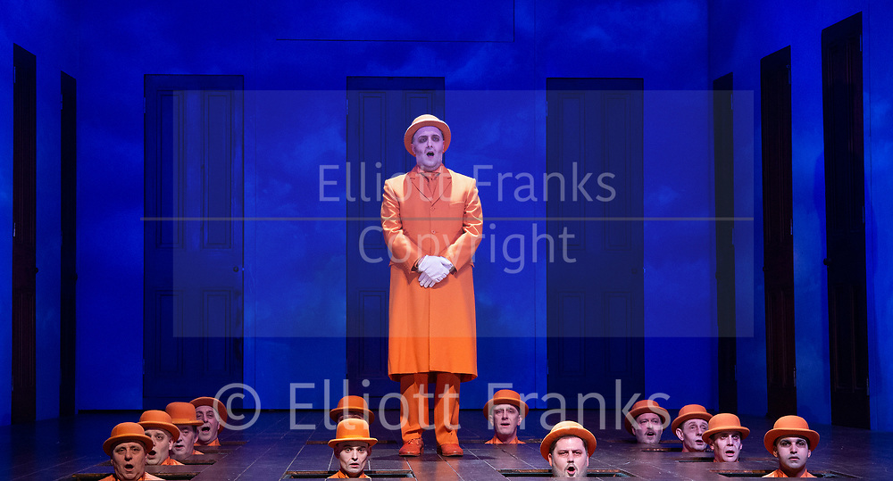 The Magic Flute <br /> Music by Mozart <br /> Welsh National Opera, Wales Millennium Centre, Cardiff, Wales, Great Britain <br /> 13th February 2019 <br /> Directed by Dominic Cooke <br /> <br /> Ben Johnson as Tamino<br /> Jennifer Davis as First Lady<br /> Kezia Bienek as Second Lady<br /> Emma Carrington as Third Lady<br /> Mark Stone as Papageno<br /> Gareth Brynmor as John Papageno<br /> Anna Siminska as Queen of the Night<br /> Samantha Hay as Queen of the Night<br /> Howard Kirk as Monostatos<br /> Anita Watson as Pamina<br /> Simon Crosby as Buttle A Priest<br /> James Platt as Sarastro<br /> Jihoon Kim as Sarastro<br /> Phillip Rhodes as Speaker<br /> Joe Roche as First Armed Man<br /> Laurence Cole as Second Armed Man<br /> Claire Hampton as Papagena<br /> Alex Parry Actor<br /> Christopher Sawalha Actor<br /> George Newton-Fitzgerald Actor<br /> <br /> Photograph by Elliott Franks
