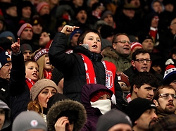 A young Stoke City fan in the crowd at The Britannia Stadium - Mandatory byline: Robbie Stephenson/JMP - 13/01/2016 - FOOTBALL - Britannia Stadium - Stoke, England - Stoke City v Norwich City - Barclays Premier League
