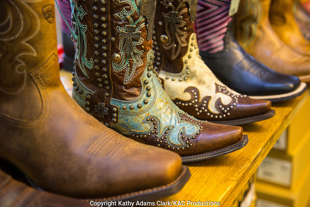 Texans love their cowboy boots.  Ornate to practical boots can be found at Sassy Pantz in Stockyard Station at the Fort Worth Stockyards.