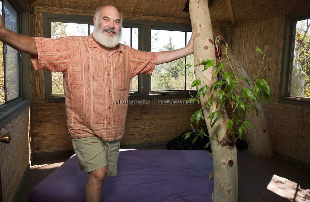 Dr. Andrew Weil's tree house overlooks his ranch property that borders on the Saguaro National Park in southern Arizona.