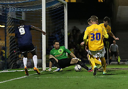 Ryan Clarke Of Oxford United saves from Jamar Loza Of Southend United - Photo mandatory by-line: Robin White/JMP - Tel: Mobile: 07966 386802 24/03/2014 - SPORT - FOOTBALL - Roots Hall - Southend - Southend United vs Oxford United - Sky Bet League 2
