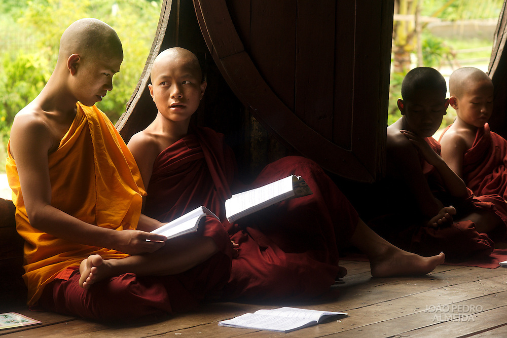 Buddhist monks at classroom of Shwe Yan Pya monastery