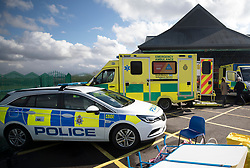 © Licensed to London News Pictures. 06/03/2018. Salisbury, UK. A police car sits outside the Accident & Emergency department at Salisbury District hospital where former Russian spy Sergei Skripal and his daughter were taken after becoming ill with suspected poisoning. The couple where found unconscious on bench in Salisbury shopping centre. Specialist units have been called in to deal with any possible contamination. Photo credit: Peter Macdiarmid/LNP