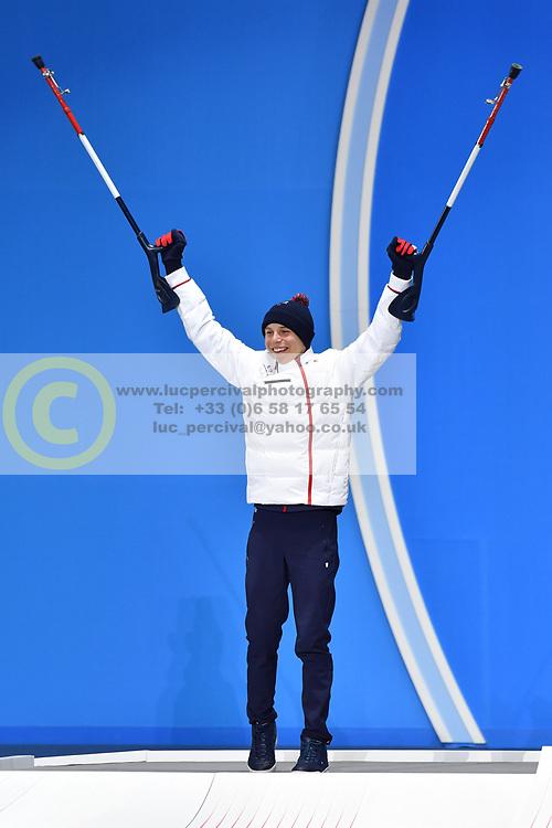 BAUCHET Arthur LW3 FRA, ParaSkiAlpin, Para Alpine Skiing, Downhill, Descente, Podium at PyeongChang2018 Winter Paralympic Games, South Korea.