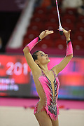 Linoy Ashram, Israel, during the 33rd European Rhythmic Gymnastics Championships at Papp Laszlo Budapest Sports Arena, Budapest, Hungary on 20 May 2017.  Photo by Myriam Cawston.
