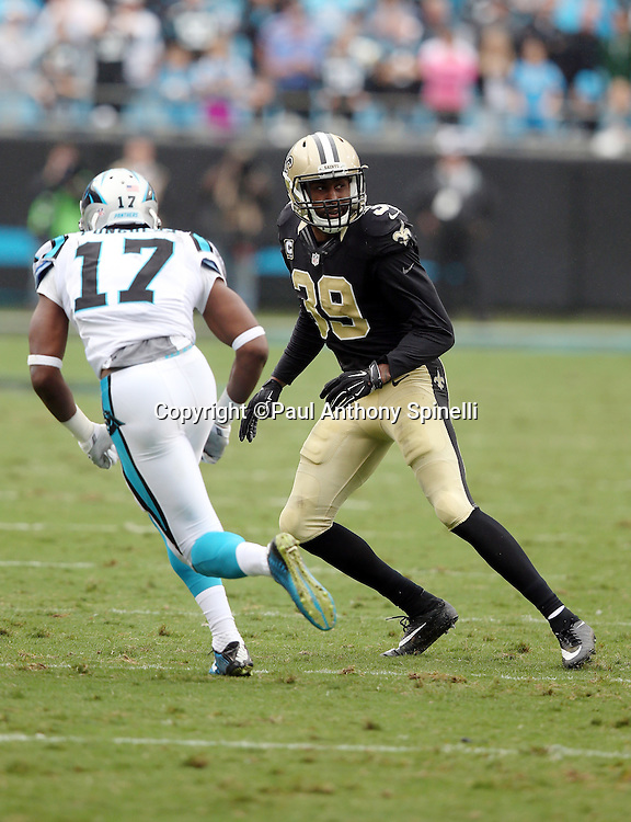 New Orleans Saints cornerback Brandon Browner (39) covers Carolina Panthers wide receiver Devin Funchess (17) on a pass route during the 2015 NFL week 3 regular season football game against the Carolina Panthers on Sunday, Sept. 27, 2015 in Charlotte, N.C. The Panthers won the game 27-22. (©Paul Anthony Spinelli)