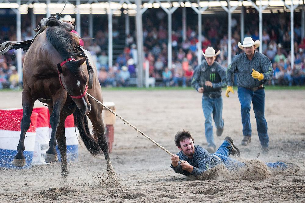 Wild Horse Race at Nebraska's Big Rodeo on Saturday, July 30, 2016, in Burwell.