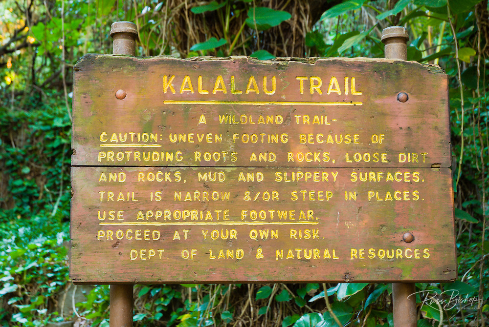 Kalalau Trail sign at the Ke'e Beach trailhead, Na Pali Coast, Island of Kauai, Hawaii