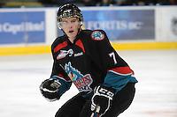 KELOWNA, CANADA, OCTOBER 11:  Damon Severson #7 of the Kelowna Rockets skates on the ice as the Medicine Hat Tigers visited the Kelowna Rockets on October 11, 2011 at Prospera Place in Kelowna, British Columbia, Canada (Photo by Marissa Baecker/shootthebreeze.ca) *** Local Caption ***Damon Severson;