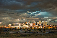 Light and Dark in Rocky Mountain Sunset over Denver