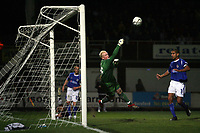Photo: Rich Eaton.<br /> <br /> Hereford United v Leicester City. Carling Cup. 19/09/2006. Leicesters goalkeeper makes a spectacular save to deny Hereford from equalizing when the score was 2-1 to Leicester