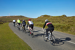 Cyclists on Haytor Down Dartmoor Devon England