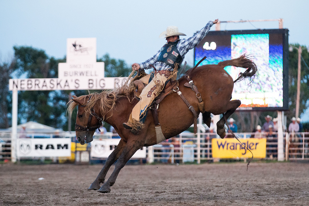 Second to last competitor in saddle bronc riding at Nebraska's Big Rodeo on Saturday, July 30, 2016, in Burwell.