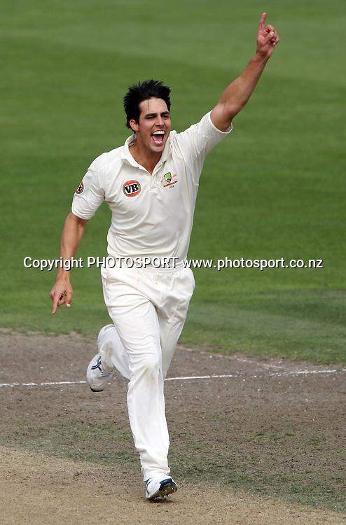 Australian pace bowler Mitchell Johnson celebrates the wicket of B J Watling.<br />Test Match Cricket. 2nd test. Day 4.<br />New Zealand Black Caps versus Australia. Seddon Park, Hamilton, New Zealand. Tuesday 30 March 2010. <br />Photo: Andrew Cornaga/PHOTOSPORT