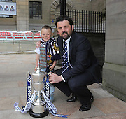 Young Rhylee Bruce with Dundee manager Paul Hartley and the trophy - Dundee FC civic reception at Dundee City Chambers<br /> <br />  - &copy; David Young - www.davidyoungphoto.co.uk - email: davidyoungphoto@gmail.com