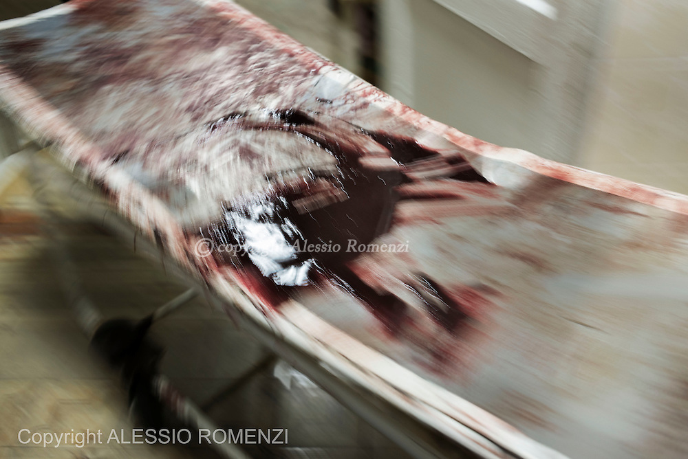 Ukraine, Donetsk: Bloodstained stretcher inside a city morgue in Donetsk on May 27, 2014. ALESSIO ROMENZI