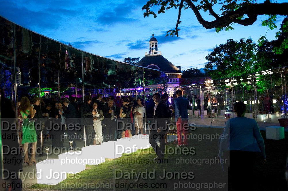 PAVILION, 2009 Serpentine Gallery Summer party. Sponsored by Canvas TV. Serpentine Gallery Pavilion designed by Kazuyo Sejima and Ryue Nishizawa of SANAA. Kensington Gdns. London. 9 July 2009.