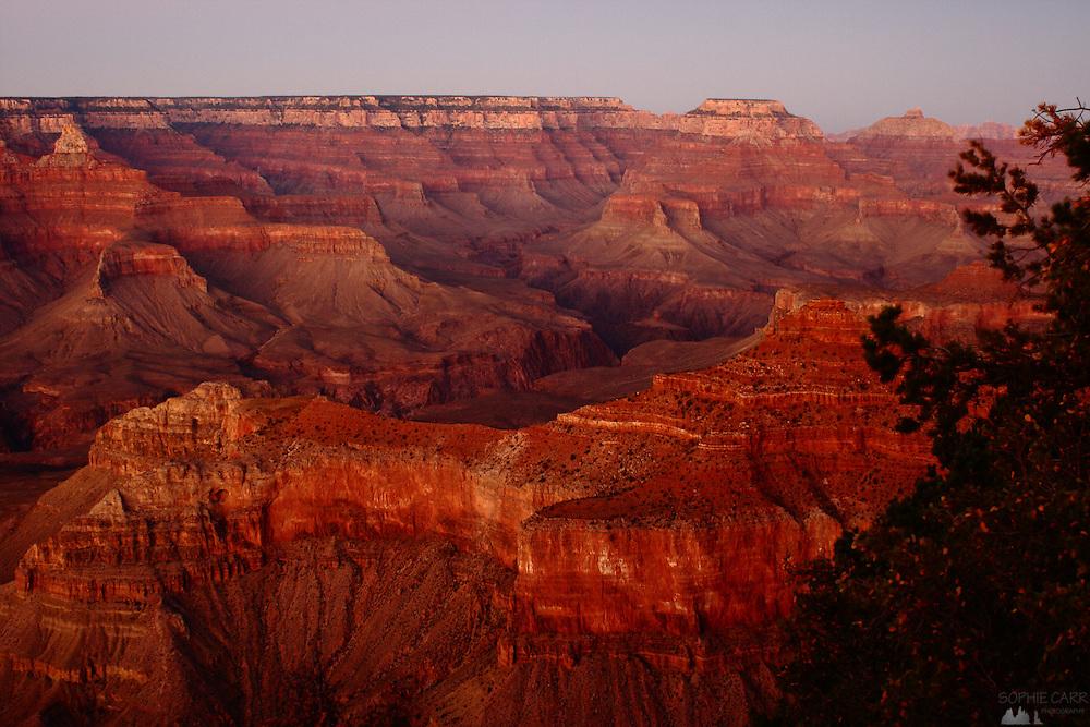 Dusk at the South Rim of the Grand Canyon National Park, Arizona, USA