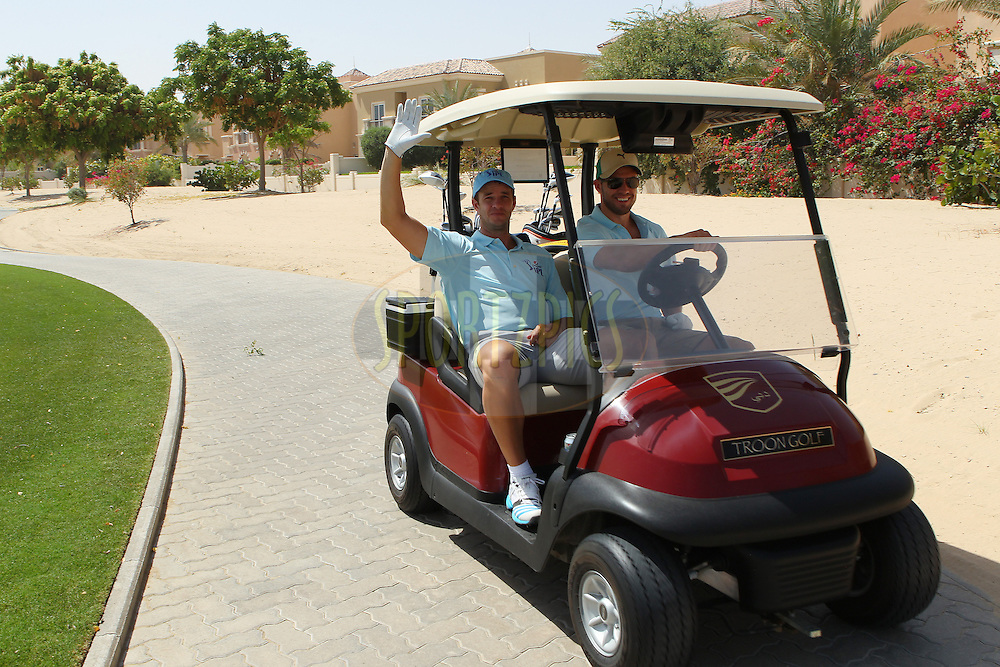 Albie Morkel and AB de Villiers during the Pepsi Indian Premier League 2014 golf day held at the Ernie Els Club at Sports City , Dubai, United Arab Emirates on the 20th April 2014<br /> <br /> Photo by Ron Gaunt  / IPL / SPORTZPICS