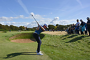 Sandy Scott (GB&I) plays his second to the second green during the Saturday Singles in the Walker Cup at the Royal Liverpool Golf Club, Saturday, Sept 7, 2019, in Hoylake, United Kingdom. (Steve Flynn/Image of Sport)