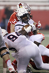 11 December 2015:  Teddy Corwin(87) and Pat Meehan(33) stop the progress of Jacobi Green. NCAA FCS Quarter Final Football Playoff game between Richmond Spiders and Illinois State Redbirds at Hancock Stadium in Normal IL (Photo by Alan Look)