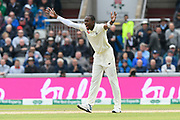 Jofra Archer of England unsuccessfully appeals for the wicket of Matthew Wade of Australia during the International Test Match 2019, fourth test, day two match between England and Australia at Old Trafford, Manchester, England on 5 September 2019.