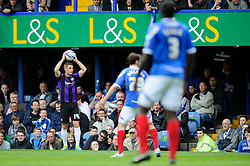 Lee Brown (ENG) of Bristol Rovers looks to take a throw - Photo mandatory by-line: Rogan Thomson/JMP - 07966 386802 - 19/04/2014 - SPORT - FOOTBALL - Fratton Park, Portsmouth - Portsmouth FC v Bristol Rovers - Sky Bet Football League 2.
