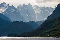 Norway, Lofoten. Raftsundet is a 20km long strait separating Austvågøya and Hinnøya. The entrance to Trollfjorden.
