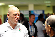 Mike Tindall of England talks to media, during an England Press Conference at Southern Cross Hotel in Dunedin, New Zealand. IRB Rugby World Cup 2011. Thursday 22 September 2011. New Zealand. Photo: Richard Hood/photosport.co.nz