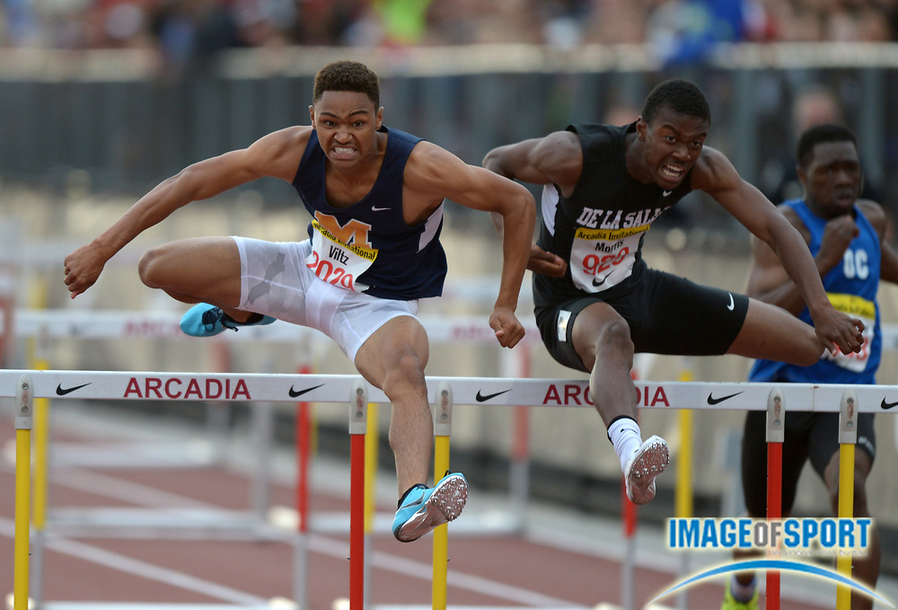Apr 12, 2014; Arcadia, CA, USA; Misana Viltz of Long Beach Millikan (left) defeats Marquis Morris of Concord De La Salle, 13.922 to 13.923, to win the 110m hurdles in the 47th Arcadia Invitational at Arcadia High.