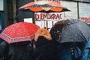 November 22, 1989. Prague, Czechoslovakia. Hand painted posters asking for democracy. (Photo Heimo Aga)