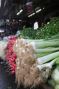 Stall selling leeks and radishes Photographed at the Carmel Market, Tel Aviv, Israel