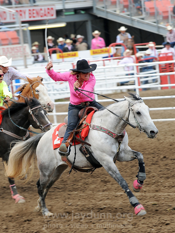 The cowboy/cowgirl race on Thursday, grand opening of the 2015 California Rodeo Salinas.