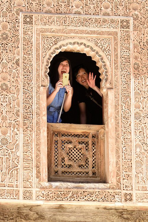 Africa, Maghreb, Morocco, Marrakesh, Medina, Medersa Ben Youssef Madrasa, Chinese tourists