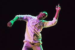 "© Licensed to London News Pictures. 13/04/2014. London, England. Pictured: Performer and Choreographer Paradigmz performs ""The Dancehall Spirit"". After two highly successful seasons, Wild Card returns for a third series. This Sadler's Wells initiative gives emerging artists the opportunity to present several works of their choice in a mixed bill. Running at the Lilian Baylis Studio on 13th and 14th February. Photo credit: Bettina Strenske/LNP"